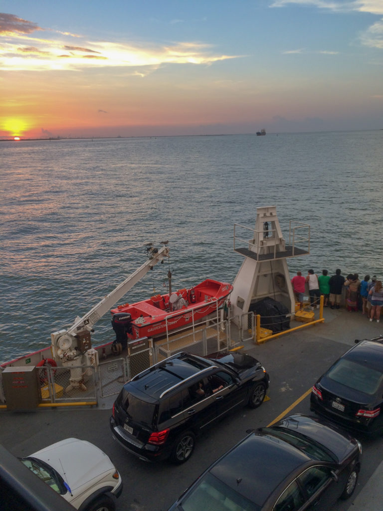 picture of galveston ferry sunset