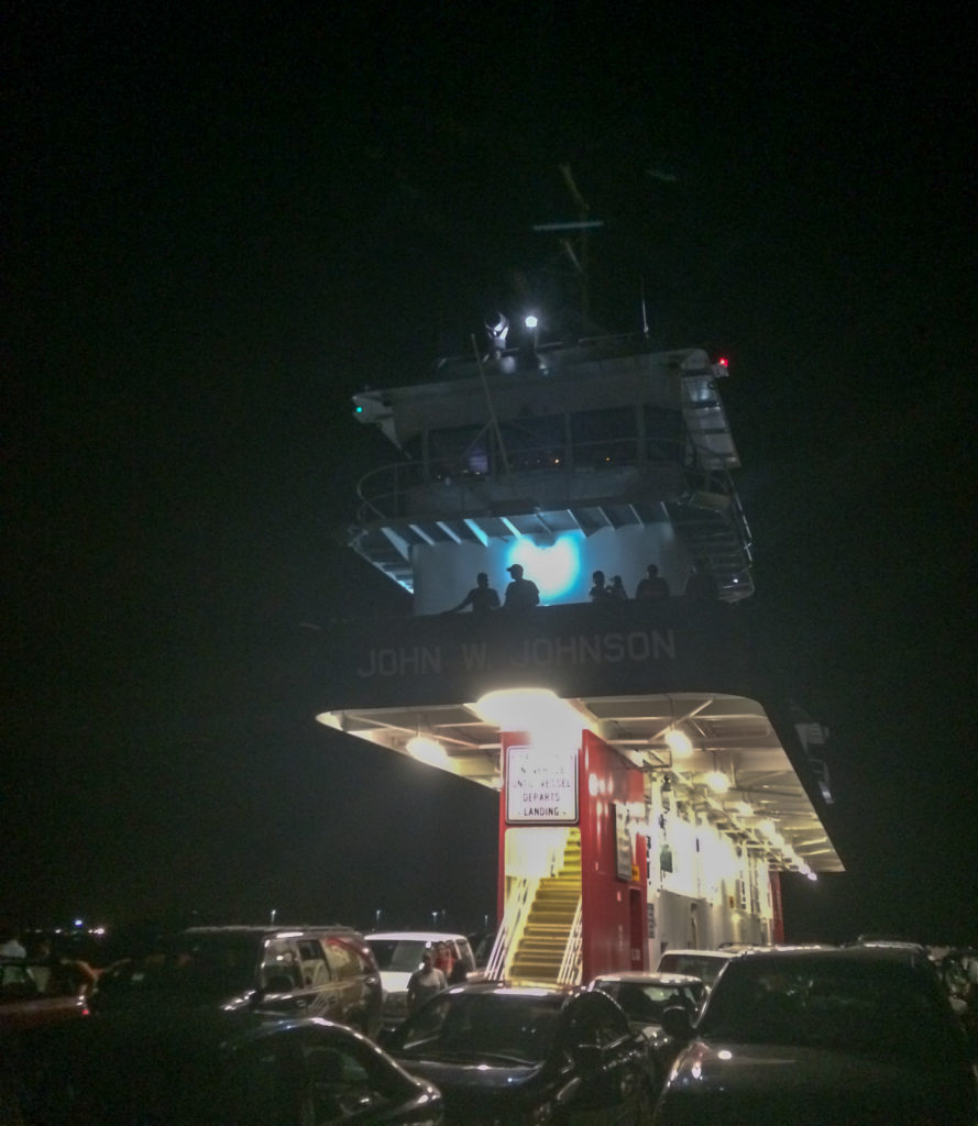 picture of the galveston ferry at night