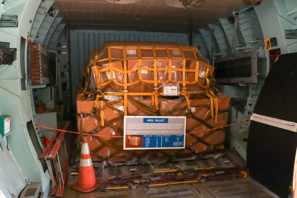 picture of a military cargo pallet onboard an airplane