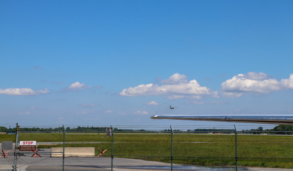 picture of airplane departing at dover air force base
